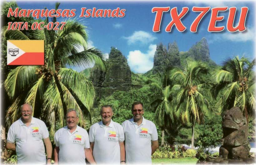 TX7EU QSL with the team - left to right: Tom GM4FDM, Ernoe DK2AMM, Hans DL6JGN, Ron PA3EWP