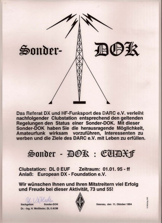 "DL0EUF is the EUDXF clubstation with special DOK ""EUDXF"" QSL manager is DJ8NK"